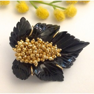 18kt Solid Gold Pendant / Brooch with Onix - gr. 26.55