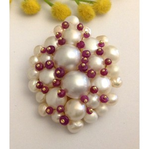 18kt Solid Gold Pendant with Pearls and Rubies - gr. 21