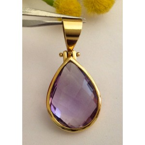 18kt Solid Gold Pendant with Amethist - gr. 4.70