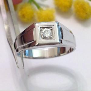 Кольцо с  для мужчин из белого золота с бриллиантом  - gr. 9.84