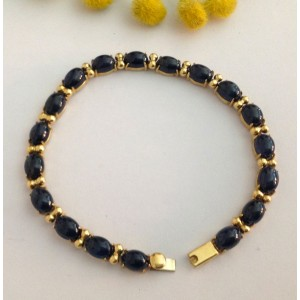 18kt Solid Gold Bracelet with Natural Sapphires- gr. 15.25