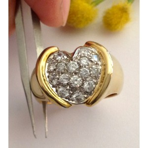 18kt Solid Gold Ring with Natural Diamonds - gr. 11,12