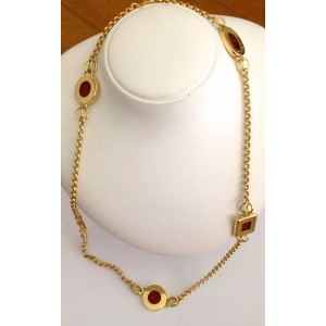 18kt Solid Gold Necklace with Carnelian- gr. 45.1