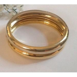 Жёсткий браслет из жёлтого белого золота - 18 кт - gr. 57.1