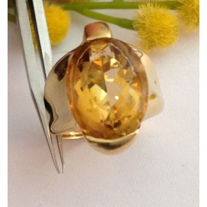 18kt Solid Gold Ring with Citrine Quartz - gr. 10.85