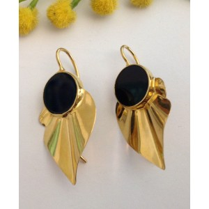 18kt Solid Gold Earrings with Onix - gr. 9.32