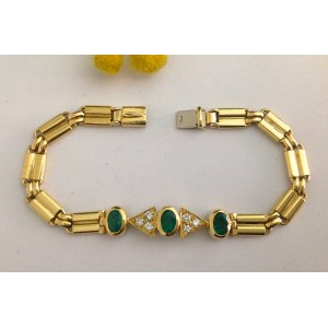 18kt Solid Gold Bracelet with Emeralds and Diamonds- gr. 14.56