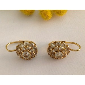 18kt Solid Gold Earrings with Cubic Zirconia - gr. 5.92