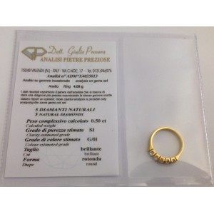 Riviere in oro 18kt con 5 Diamanti Naturali - gr. 4.08