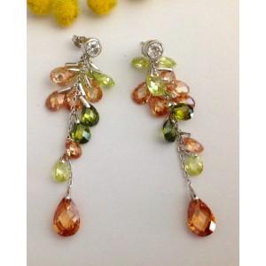 "925 Sterling Silver "" Cluster "" Earrings"