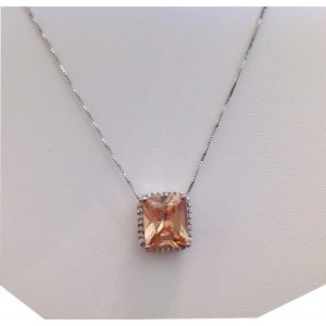925 Sterling Silver Pendant with Cubic Zirconia + Chain