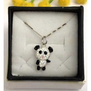"925 Sterling Silver Pendant "" Panda "" + Chain"