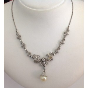 18kt Solid Gold Necklace with Pearl - gr. 15.88