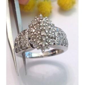 10kt White Gold Diamonds Ring- gr. 5.08