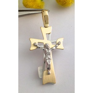 18kt Solid Yellow and White Gold Cross - gr. 3.32