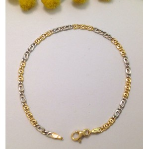 """18kt Solid Yellow and White Gold """" Curb """" Bracelet - gr. 2.1"""