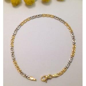 """Braccialetto """" Grumetta """" in oro giallo / bianco 18kt - gr. 2.1"""