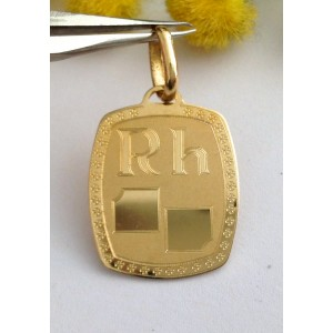 "18kt Solid Gold "" Blood Group "" Medal -  gr. 2.52"