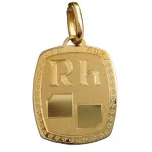 """18kt Solid Gold """" Blood Group """" Medal -  gr. 2.52"""