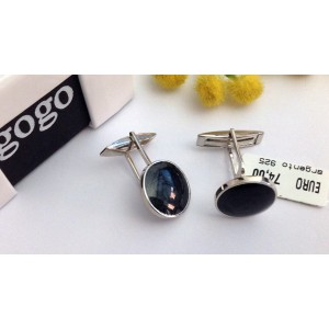 925 Sterling Silve Round Cufflinks with Enamels