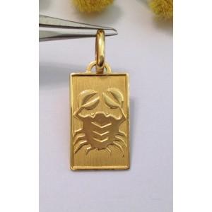 """18kt Solid Gold """" Cancer """" Medal - gr. 2.14"""