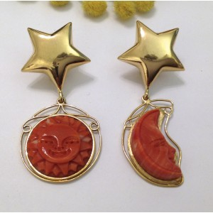 "18kt Solid Yellow Gold Earrings "" Moon and Sun """