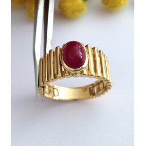18kt Solid Gold Ring with Natural Ruby - gr. 8.30