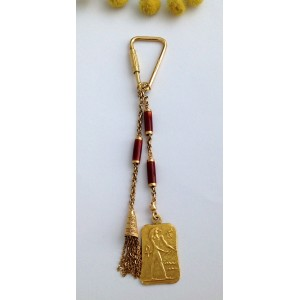 "18kt Solid Gold "" Egyptian "" Keychain- gr. 17.07"