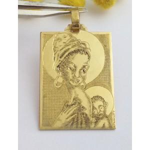 """edal - gr. 12.3818kt Solid Gold """" Black Madonna & Jesus """" M"""