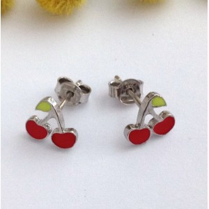 "925 Sterling Silver "" Cherries "" Earrings"