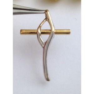 Стилизованный крест из жёлтого белого золота - 18 кт - gr 2.47