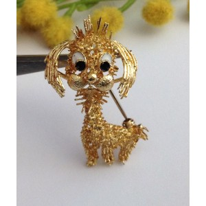 18kt Solid Yellow Gold Brooch - Poodle