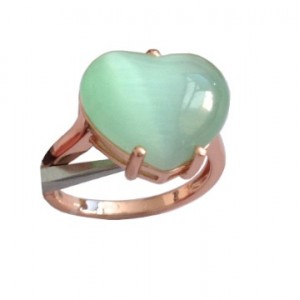 925 Sterling Rose Silver Heart Ring