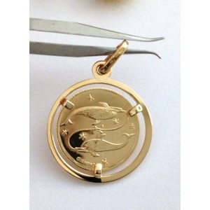 "18kt Solid Yellow Gold Zodiacal Medal "" Fish ""- gr. 2.44"