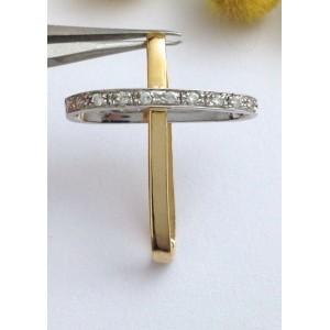 Стилизованный крест из жёлтого белого золота с кубическим цирконием  - 18 кt - gr. 2.46