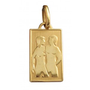 18kt Solid Yellow Gold Zodiacal Medal - Twins
