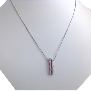 18kt Solid White Gold Chain with Pendant - gr. 7.40