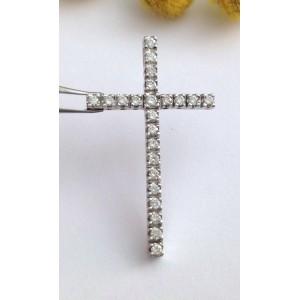 Крест из белого золота с 23 натурльными бриллиантами - 18 кт - gr. 2.6