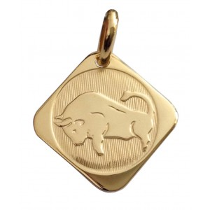 """18kt Solid Yellow Gold Zodiacal Medal """" Bull """"- gr. 2.10"""