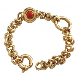 18kt Solid Gold Bracelet with Pearl and Coral - gr. 30.33