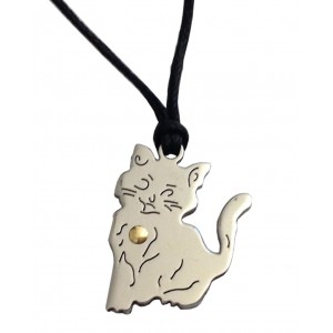 Stainless Steel and Gold Pussy Cat Pendant
