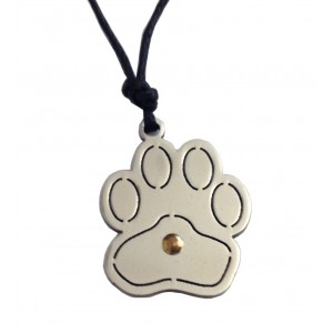 Cat's Paw Pendant - Stainless Steel and Gold with Cord