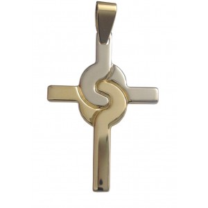 18kt Solid Yellow & White Gold Cross - gr. 5.15