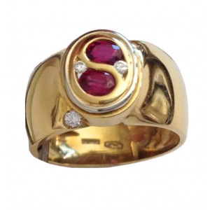 18t Solid Gold Rubies & Diamonds Ring - gr. 6.91