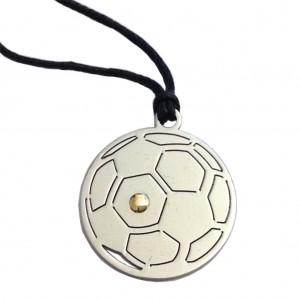 """Ciondolo """" Pallone da Calcio """" In Acciaio ed Oro"""