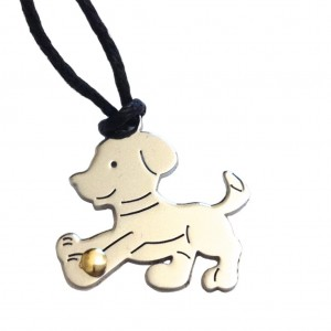 Stainless Stell and Gold Soccer Puppy Pendant