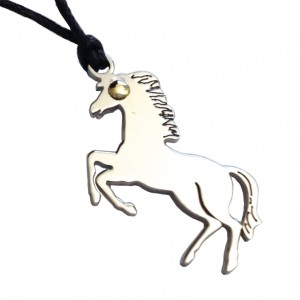 Stainless Stell and Gold Horse  Pendantt