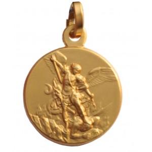 Medaglia di San Michele Arcangelo In Argento 925 dorato