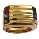 Anello In Oro Giallo 18kt con Pietre Semi Preziose - Gr. 14.8